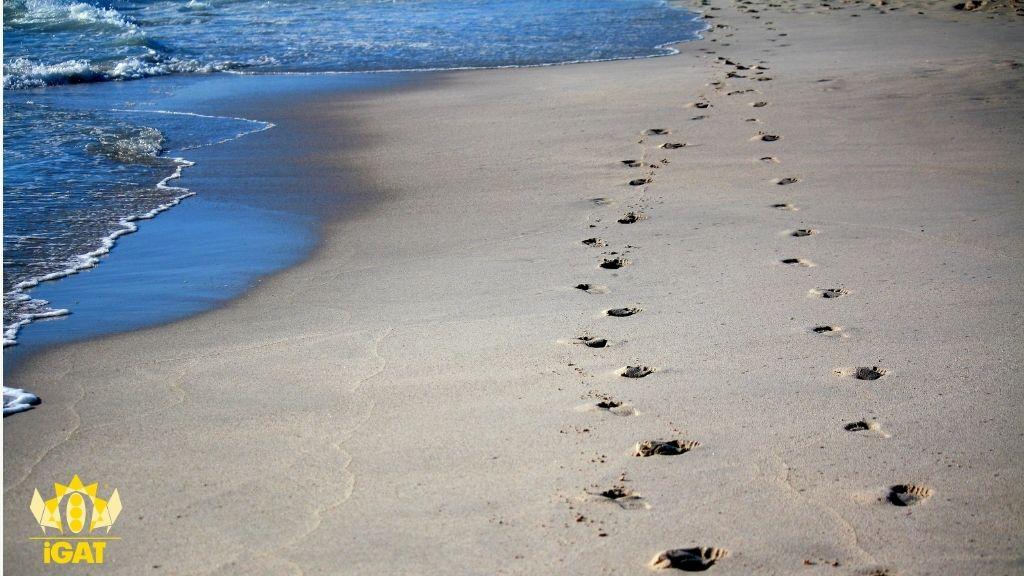transfert paziente terapeuta orme sabbia mare spiaggia percorso